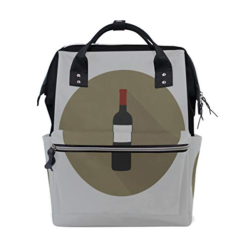 Red Wine Champion Drink Cheers Large Capacity Diaper Bags Mummy Backpack Multi Functions Nappy Nursing Bag Tote Handbag for Children Baby Care Travel Daily Women ()