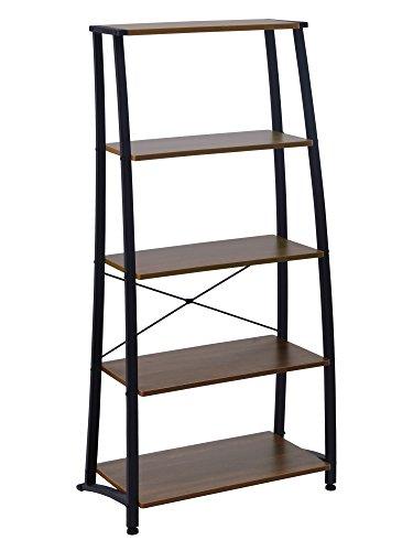 - FIVEGIVEN 5 Tier Ladder Book Shelf Tall Bookshelf Modern Open Wood Espresso