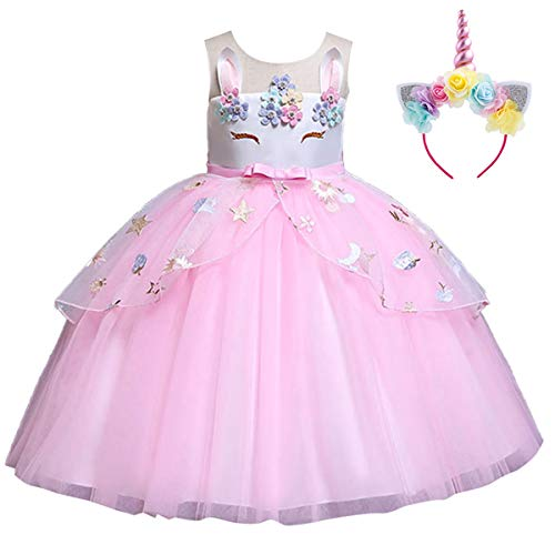 Baby Kid Girl Summer Sleeveless Flower Applique Ruffle Pastel Tulle Dress Unicorn Costume Party Pageant Cosplay Halloween Fancy Dress Up 11-12 -