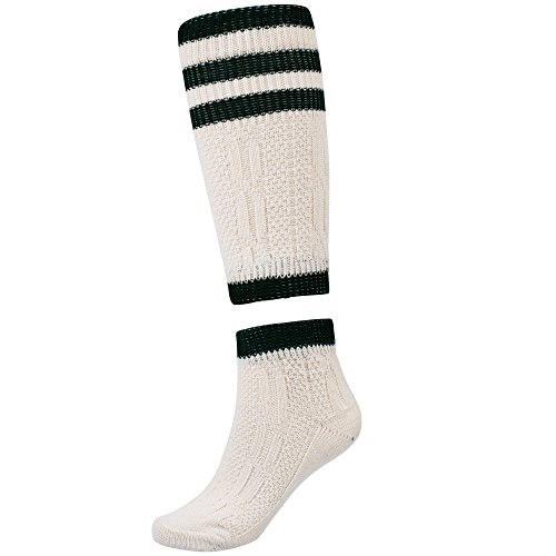 (Traditional bavarian Lederhosen socks 2 pieces white/green size)