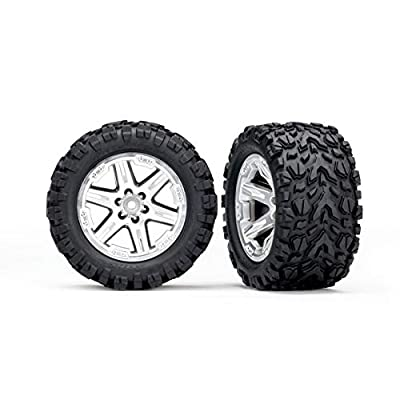 Traxxas 6773R 6773R - Tires & Wheels, Assembled, glued (2.8') (RXT Satin Chrome Wheels, Talon Extreme Tires, Foam Inserts) (2) (TSM Rated): Toys & Games