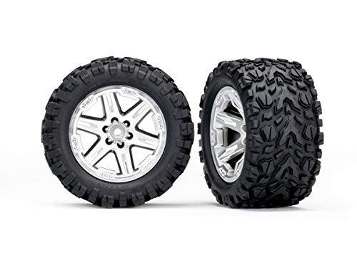 Traxxas 6774R 6774R - Tires & Wheels, Assembled, glued (2.8') (RXT Satin Chrome Wheels, Talon Extreme Tires, Foam Inserts) (2WD Electric Rear) (2) (TSM Rated) ()