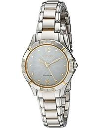 Women's 'Eco-Drive Diamond' Quartz Stainless Steel Dress Watch, Color:Two Tone (Model: EM0454-52A)