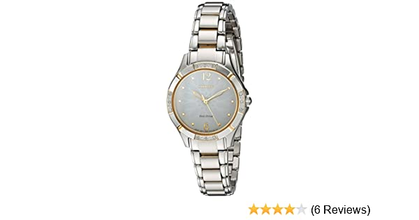 Amazon.com: Citizen Womens Eco-Drive Diamond Quartz Stainless Steel Dress Watch, Color:Two Tone (Model: EM0454-52A): Watches