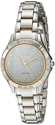 Citizen Women's 'Eco-Drive Diamond' Quartz Stainless Steel Dress Watch, Color:Two Tone (Model: EM0454-52A)