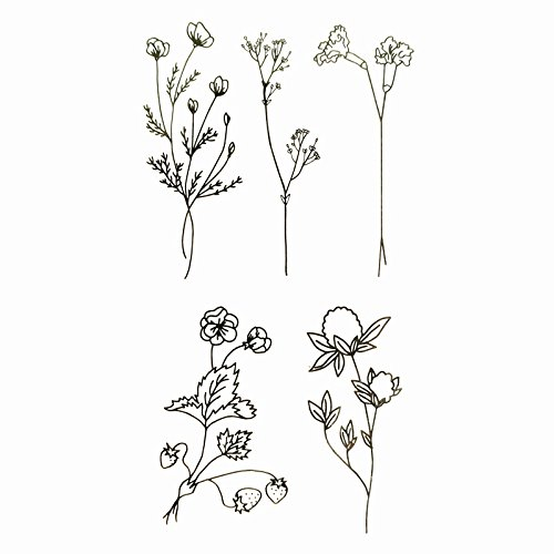 Set of 2 Waterproof Temporary Fake Tattoo Stickers Elegant Black Grey Plant Simple Classic Design