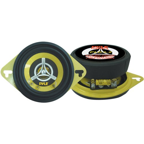 "Pyle 3.5"" Inch Two Way Sound Speaker System - Yellow Poly Cone Pro Loud Range Audio 120 Watt Peak Power Per Pair  w/ 4 Ohm Impedance and 100-20KHz Frequency Response for Car Component Stereo PLG3 - Peak Pa Speaker"