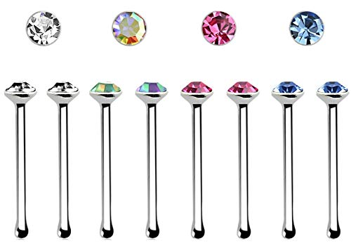iJewelry2 Round 1.5mm Crystal Top Setting Sterling Silver Nose Lip Bones 22g Set of 8 ()