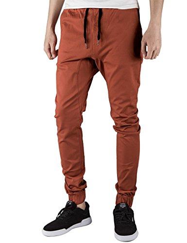 Italy Morn Men Jogger Chinos Pants Casual Khakis Drop Crotch Jogging Twill Black (XL(36Wx31L), Rust) - 31 Black Brick Light