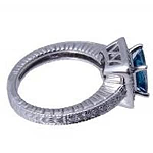 1.70 ct Antique Style Diamond Ring Blue Diamond