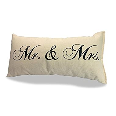 Mr and Mrs Pillow 100% Natural Canvas 8  x 15