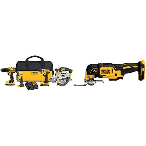 DEWALT DCK421D2 20V MAX Lithium-Ion 4-Tool Combo Kit, 2.0Ah with DCS355B 20V XR Oscillating Multi-Tool (Tool Only)