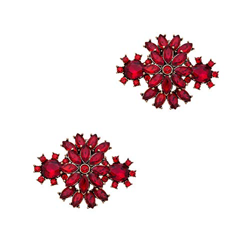 - Casualfashion 2Pcs Korean Fashion Rhinestones Flower Shoe Clips Wedding Party Shoes Buckles Decorations (Red)
