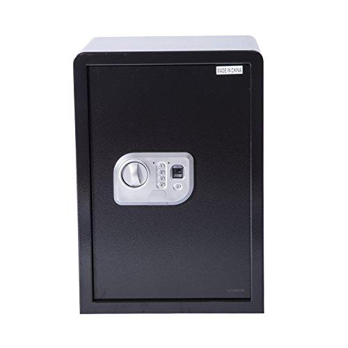 HomCom 14″ x 12″ x 20″ Digital Home Security Storage Safe w/ Biometric Fingerprint Scanner – Black