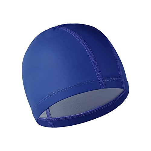 Swimming Cap ROSIMO Waterproof Swim Cap with PU Coating Wrinkle-Free for Men Women Youth Kids (Blue) (Sunray Headphones)