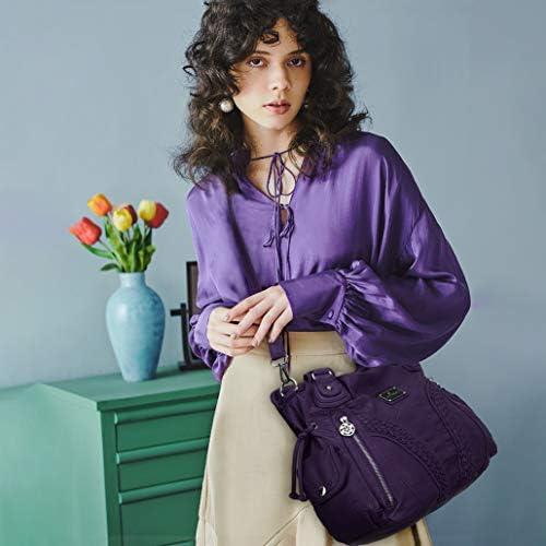 Angelkiss Women Top Handle Satchel Handbags Shoulder Bag Messenger Tote Washed Leather Purses Bag