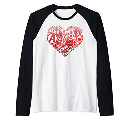 Marvel Hero Symbol Heart Shaped Fill Raglan Baseball Tee]()