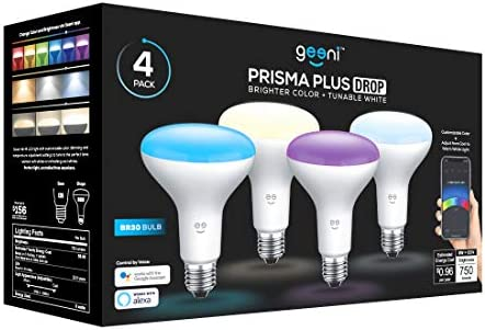 Geeni P BR30 LED Smart Light Bulb, Tunable and Dimmable RGB WiFi Bulb, No Hub Required, Compatible with Alexa and Google Assistant 4 Pack