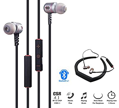 360Gadget Sports Bluetooth Headphone Wireless Headsets Noise Cancelling For Running Gym Earbuds Stereo Earphones For iPhone Sony Samsung Motorola LG Android Phone (Grey+Pink)
