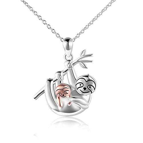 "LUHE Sloth Necklace Sterling Silver ""Slow Down Be Happy"" Slider Sloths Stuffed Animal Pendant Jewelry Charm Gifts for Women Christmas present"