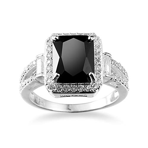 (Trineybell Shop Women Fashion Jewelry 925 Sterling Silver Black Onyx Wedding Engagement Ring (7))