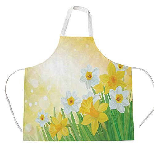 Daffodil 3D Printed Cotton Linen Apron,Daffodils Garden Narcissus Rebirth and New Beginnings Celebration Graphic,for Cooking Baking Gardening,Green Yellow White ()