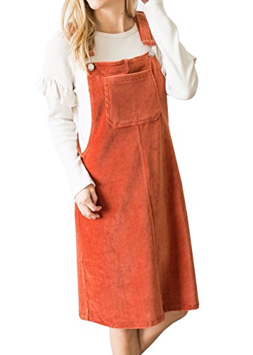 Orange Skirt Corduroy (Remikst Womens Front Pocket Corduroy Button Decor A Line Suspender Overall Skirt Dress)