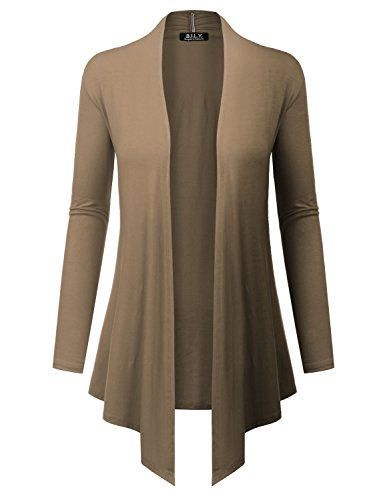 BH B.I.L.Y USA Women's Open Front Drape Hem Lightweight Cardigan with Pockets Mocha XX-Large