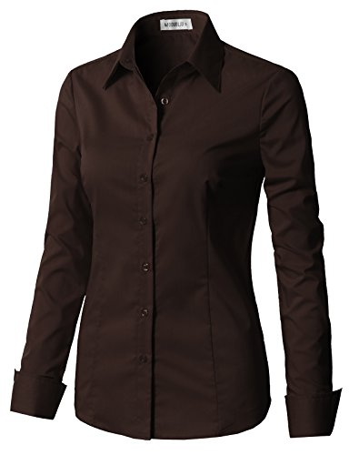 (CLOVERY Women's Basic Long Sleeve Formal Work Wear Simple Shirt with Stretch Brown L)