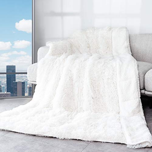Cottonblue Sherpa Weighted Blanket 15lbs, Faux Fur Reversible Luxury Snugly Long Fur Warm Heavy Blanket 48x72 inches,Super Soft Fuzzy Fleece Blanket for Better Sleep,White