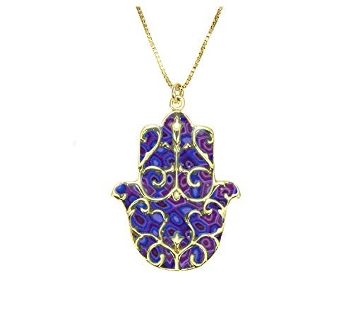Gold Plated 925 Silver Hamsa Symbol Necklace Fleur de Lis Pendant Handmade Purple Polymer Clay, 16.5