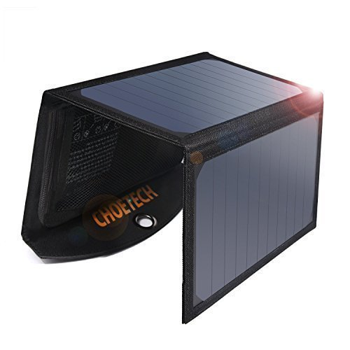 Cargador de Panel Solar Plegable, CHOETECH 19W Batería Externa Portátil con 2 Puertos USB y Tecnología de Detección...