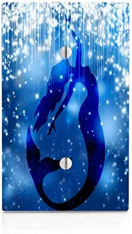Trendy Accessories Blue Mermaid Silhouette Stars Snow Printed Image Single Wall Plate Cover not Decal
