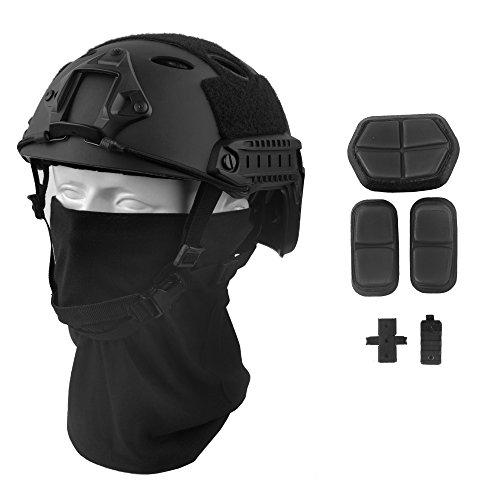LOOGU Fast PJ Base Jump Military Helmet with 12-in-1 Headwear(BK)