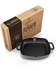 Pre-Seasoned Cast Iron 30cm (12 Inch) Ribbed Baking or Roasting Grill Pan and Skillet Fry Pan. for BBQ, Stove Top, Oven or Camping. No Handle Compact Shape. by Fresh Australian Kitchen.