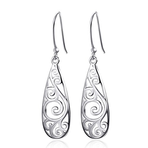 Gold Filigree Earrings White (Vaduga's Beautiful Sterling Sliver Earring Antiallergic jewelry for women (Drop2))