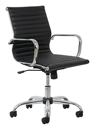 ChairMan Office Chair , Desk Chair ,Soft Ribbed Leather Executive Conference Chair with Arms - Ergonomic Adjustable Swivel Chair, Black/Chrome (ESS-6090)