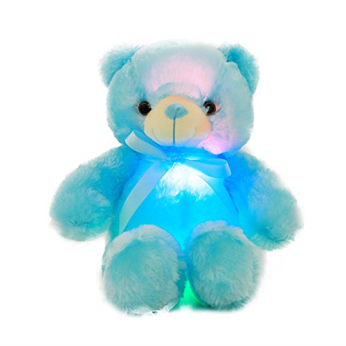 Discount AMFO New Hot LED Light Nights Teddy Bear Stuffed Animals Plush Night Light Toy Colorful Gleamy Gift 20Inch (Blue) free shipping