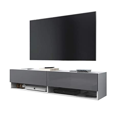 Wander – Fernsehschrank/Tv-Lowboard In Weiß Matt/Grau Hochglanz Hängend  140Cm