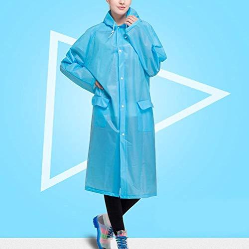 Sólido Adulto Unisex Fashion Delanteros De Hx Impermeable Ropa Con Capucha Poncho Color Azul Bolsillos Basic wTxZB7R