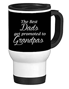 The Best Dads Get Promoted to Grandpas Black Background 14 ounce Stainless Travel Mug by Moonlight Printing