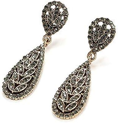 Pendientes colgantes bohemios para las mujeres oro antiguo gran moda geométrica mujer gris cristal pendientes vintage joyería