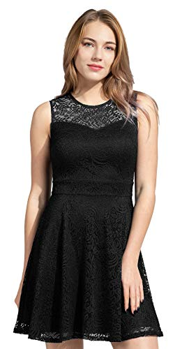 Sylvestidoso Women's A-Line Sleeveless Pleated Little Black Cocktail Party Dress Full Lace (XL, Black)
