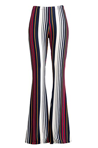 Fashionomics Womens Boho Printed Bell Bottom Stretchy Long Pants (S, BH72RED)