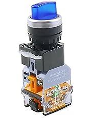 LLMXFC LA38-11XD / 2 Rotary Push-knop Schakelaar met lamp 22mm 2 Positie 3 Positie-vergrendeling LED knop schakelt multicolor optioneel