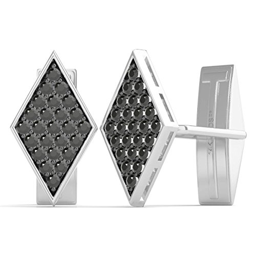Diamond Studs Forever 1.00 Ctw Black Diamond Cufflinks AGS Certified 14K White ()