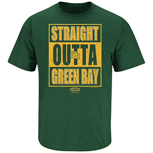 (Green Bay Football Fans. Straight Outta Green Bay Forest Green T Shirt (Sm-5X) (Short Sleeve, 2XL))
