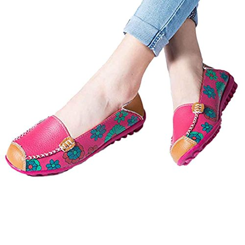 kaifongfu Apparel Clearance!Women Shoes,Leather Shoes Loafers Soft Leisure Flats Female Casual Shoes Wild Bean Shoes (39, Hot Pink) (Heels Moccasin)