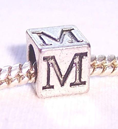 Greek Key Rim - Mu Symbol Uppercase Greek Letter M Numeral Cube Charm for European Bead Bracelet Crafting Key Chain Bracelet Necklace Jewelry Accessories Pendants