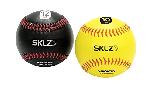 SKLZ Weighted Baseballs 2-Pack (Yellow 10 oz, Black 12 oz)